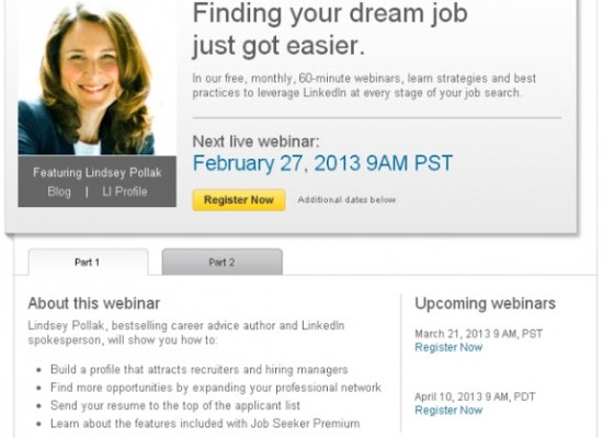 LinkedIn Webinar – Find Your Dream Job on LinkedIn