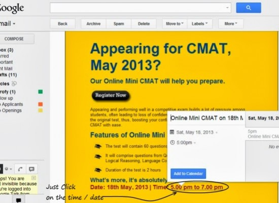 Gmail – Create Calender Events Directly from Time References in Emails