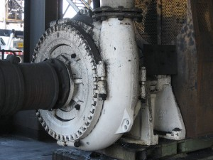 A large centrifugal pump used in industry.