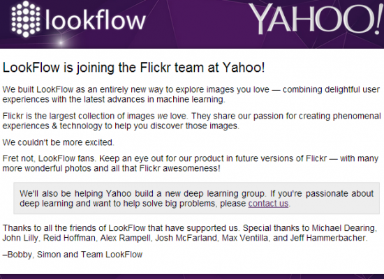 LookFlow: Image Recognition Company acquired by Yahoo!